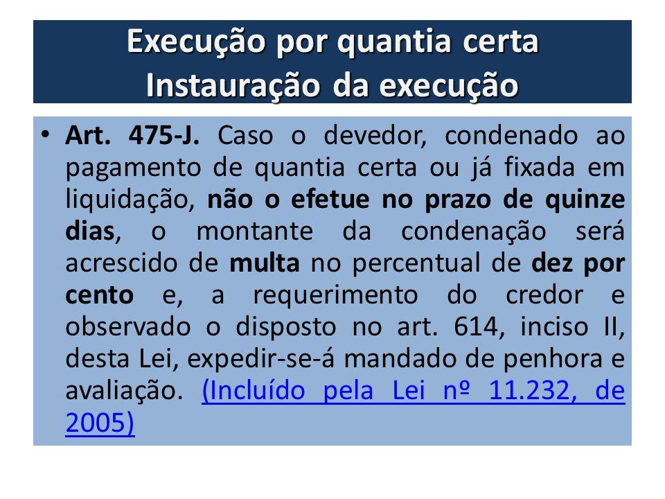 Execução por quantia certa Instauração da execução Art. 475-J. Caso o devedor, condenado ao pagamento de quantia certa ou já fixada em liquidação, não