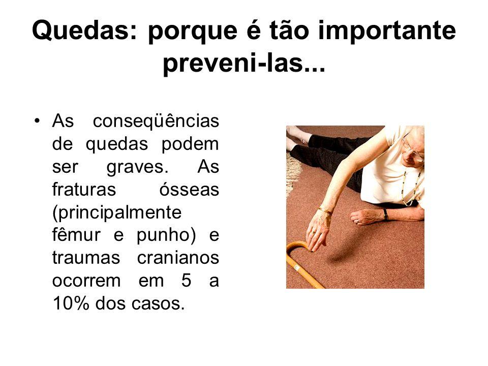Quedas: porque é tão importante preveni-las... As conseqüências de quedas podem ser graves. As fraturas ósseas (principalmente fêmur e punho) e trauma