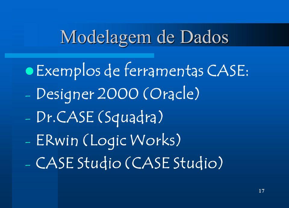17 Modelagem de Dados Exemplos de ferramentas CASE: - Designer 2000 (Oracle) - Dr.CASE (Squadra) - ERwin (Logic Works) - CASE Studio (CASE Studio)