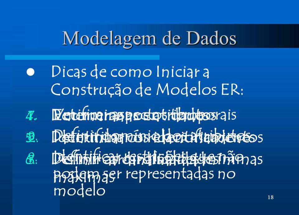 18 Modelagem de Dados Dicas de como Iniciar a Construção de Modelos ER: 1. Enumerar as entidades 2. Identificar os relacionamentos 3. Definir as cardi