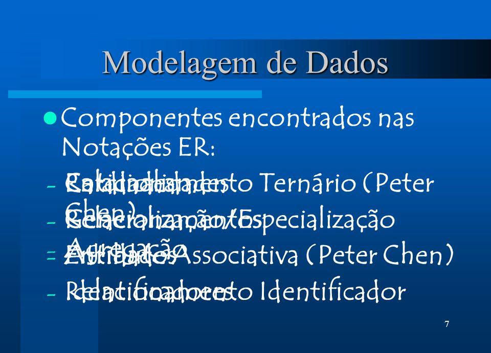 7 Modelagem de Dados Componentes encontrados nas Notações ER: - Entidades - Relacionamentos - Atributos - Identificadores - Cardinalidades - Generaliz