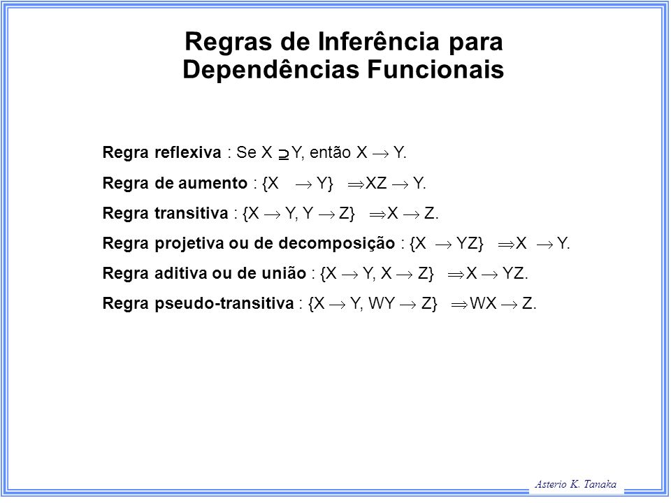 George Hamilton Slide Title Asterio K. Tanaka Regras de Inferência para Dependências Funcionais Regra reflexiva : Se X Y, então X Y. Regra de aumento