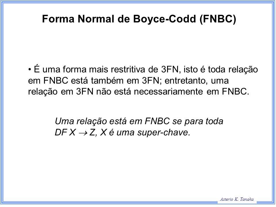 George Hamilton Slide Title Asterio K. Tanaka Forma Normal de Boyce-Codd (FNBC) É uma forma mais restritiva de 3FN, isto é toda relação em FNBC está t