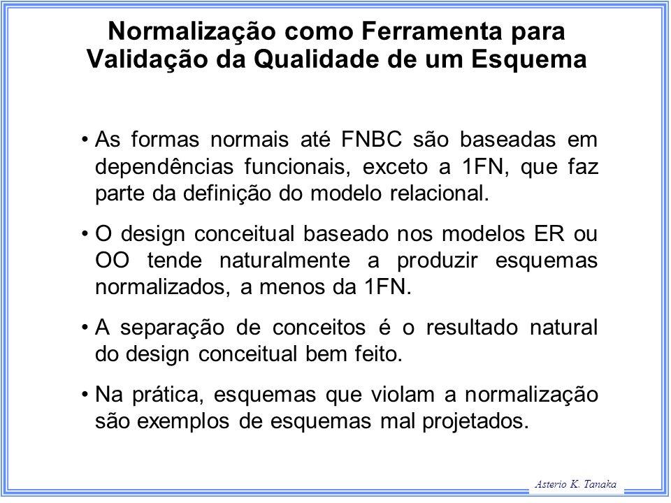 George Hamilton Slide Title Asterio K. Tanaka Normalização como Ferramenta para Validação da Qualidade de um Esquema As formas normais até FNBC são ba