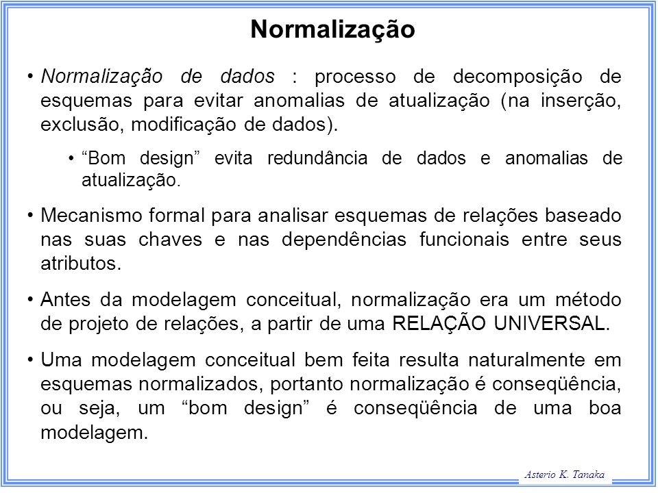 George Hamilton Slide Title Asterio K. Tanaka Normalização Normalização de dados : processo de decomposição de esquemas para evitar anomalias de atual
