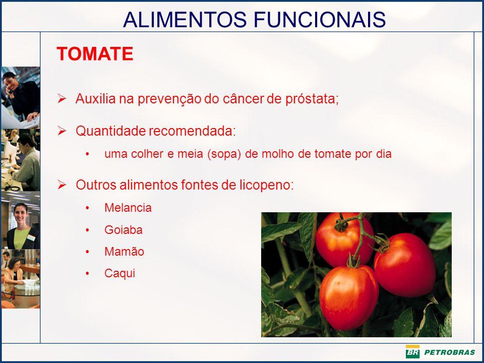 ALIMENTOS FUNCIONAIS TOMATE Auxilia na prevenção do câncer de próstata; Quantidade recomendada: uma colher e meia (sopa) de molho de tomate por dia Ou