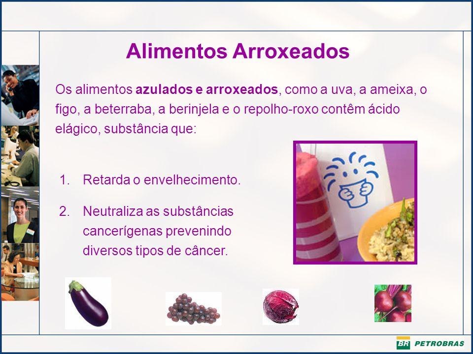 Alimentos Arroxeados Os alimentos azulados e arroxeados, como a uva, a ameixa, o figo, a beterraba, a berinjela e o repolho-roxo contêm ácido elágico,