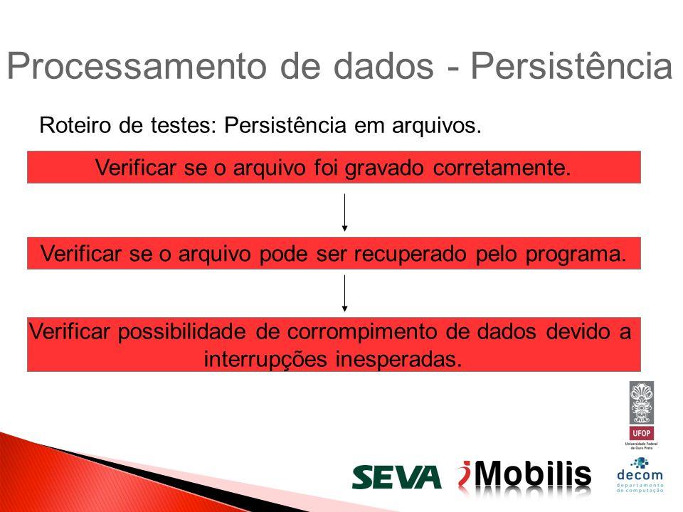 Processamento de dados - Persistência Roteiro de testes: Persistência em arquivos. Verificar se o arquivo foi gravado corretamente. Verificar se o arq