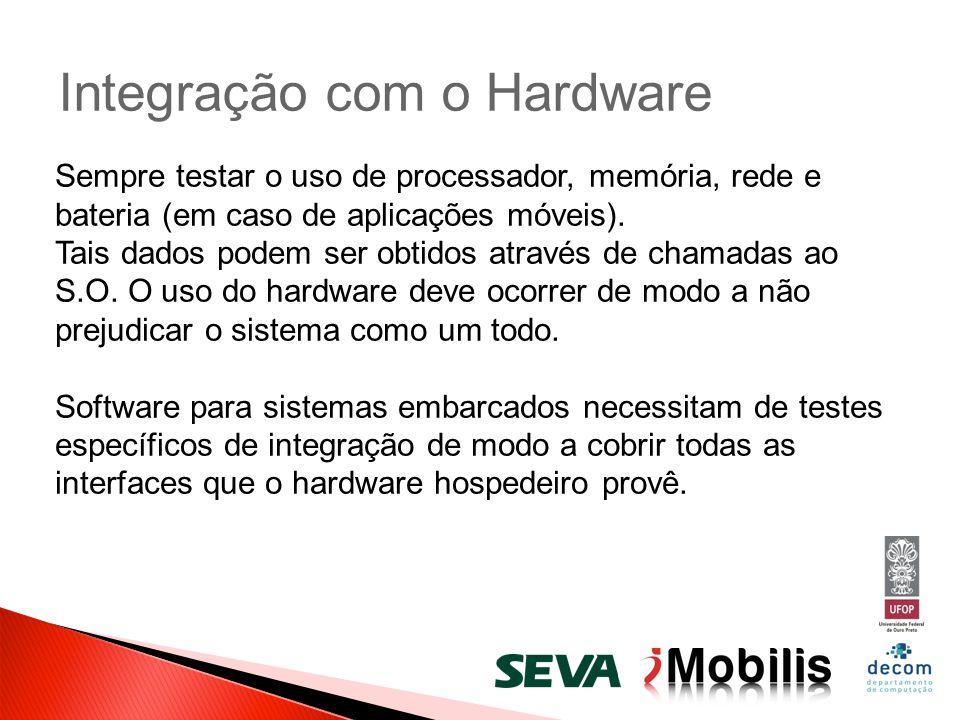Integração com o Hardware Sempre testar o uso de processador, memória, rede e bateria (em caso de aplicações móveis). Tais dados podem ser obtidos atr