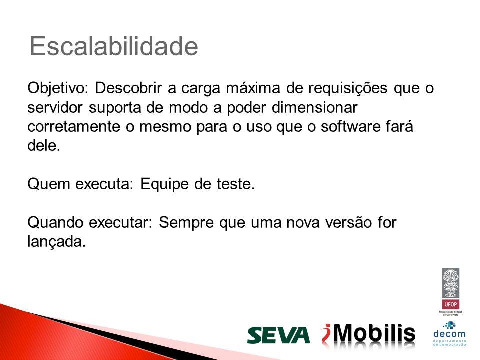 Escalabilidade Objetivo: Descobrir a carga máxima de requisições que o servidor suporta de modo a poder dimensionar corretamente o mesmo para o uso qu