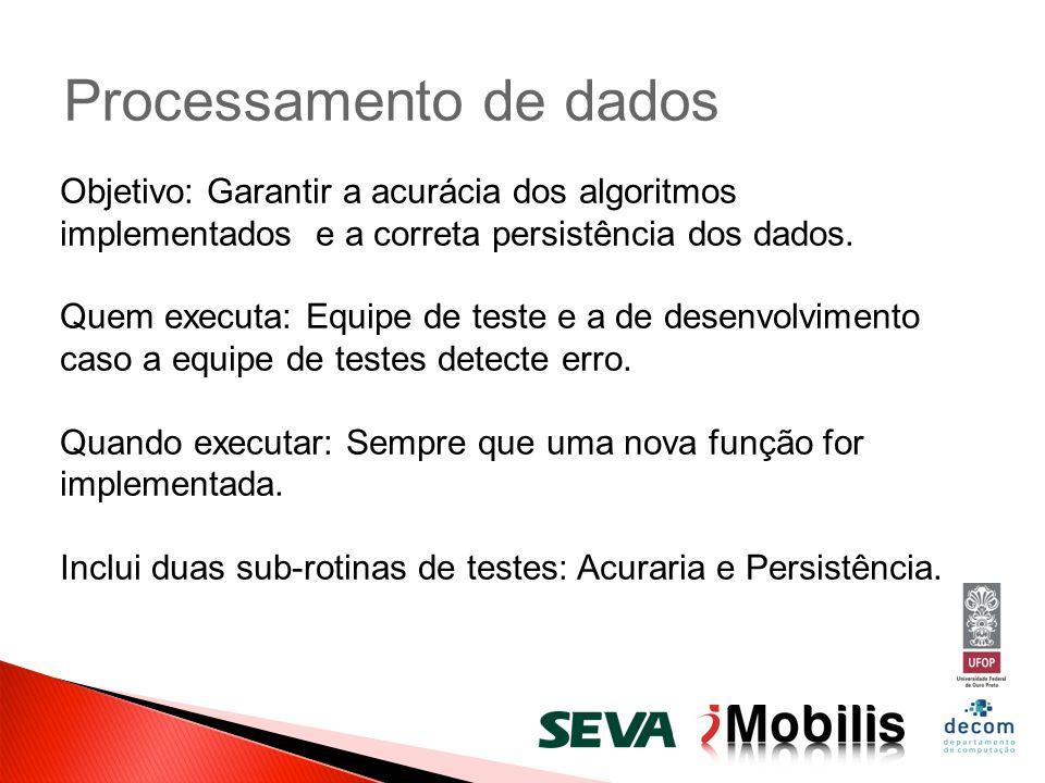 Processamento de dados Objetivo: Garantir a acurácia dos algoritmos implementados e a correta persistência dos dados. Quem executa: Equipe de teste e