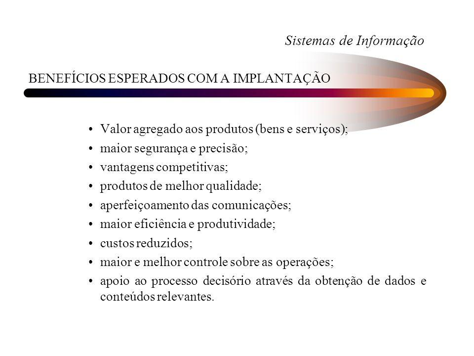 Sistemas de Informação BENEFÍCIOS ESPERADOS COM A IMPLANTAÇÃO Valor agregado aos produtos (bens e serviços); maior segurança e precisão; vantagens com
