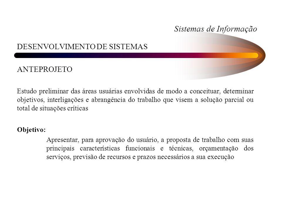 Sistemas de Informação DESENVOLVIMENTO DE SISTEMAS ANTEPROJETO Estudo preliminar das áreas usuárias envolvidas de modo a conceituar, determinar objeti