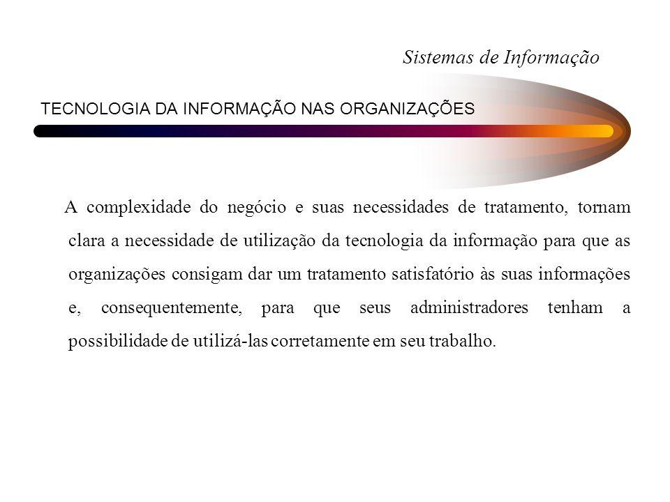 Sistemas de Informação TECNOLOGIA DA INFORMAÇÃO NAS ORGANIZAÇÕES A complexidade do negócio e suas necessidades de tratamento, tornam clara a necessida
