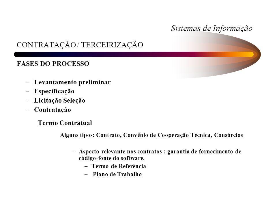 Sistemas de Informação CONTRATAÇÃO / TERCEIRIZAÇÃO FASES DO PROCESSO –Levantamento preliminar –Especificação –Licitação Seleção –Contratação Termo Con