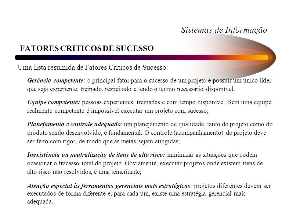 Sistemas de Informação FATORES CRÍTICOS DE SUCESSO Uma lista resumida de Fatores Críticos de Sucesso: Gerência competente: o principal fator para o su