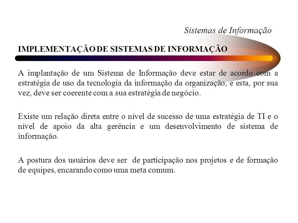 Sistemas de Informação IMPLEMENTAÇÃO DE SISTEMAS DE INFORMAÇÃO A implantação de um Sistema de Informação deve estar de acordo com a estratégia de uso