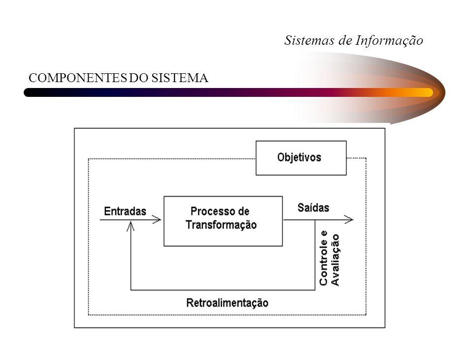 Sistemas de Informação AMBIENTE DE UM SISTEMA Sistema está ligado a uma ambiente que é o conjunto de elementos que não pertencem ao sistema, mas qualquer alteração no sistema pode mudar ou alterar os seus elementos e qualquer alteração nos seus elementos pode mudar ou alterar o sistema.