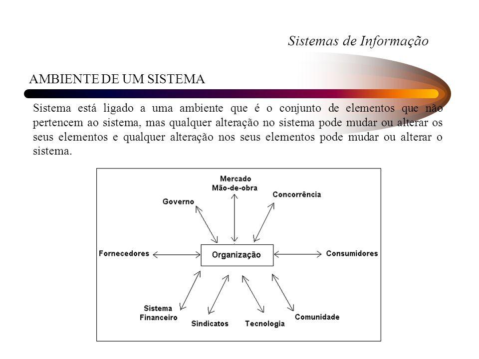 Sistemas de Informação AMBIENTE DE UM SISTEMA Sistema está ligado a uma ambiente que é o conjunto de elementos que não pertencem ao sistema, mas qualq