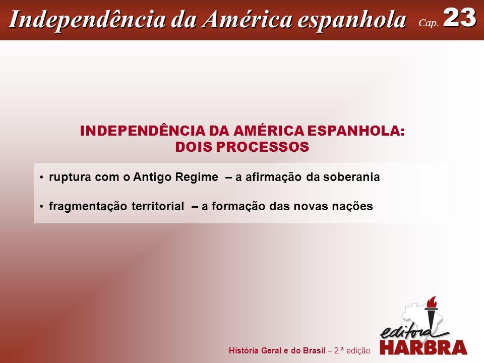 História Geral e do Brasil – 2.ª edição INDEPENDÊNCIA DA AMÉRICA ESPANHOLA: DOIS PROCESSOS ruptura com o Antigo Regime – a afirmação da soberania frag