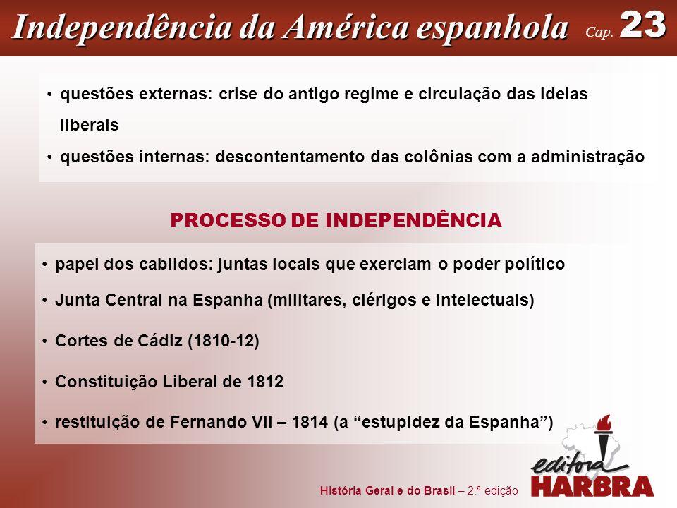 História Geral e do Brasil – 2.ª edição Independência da América espanhola 23 Cap. 23 PROCESSO DE INDEPENDÊNCIA questões externas: crise do antigo reg