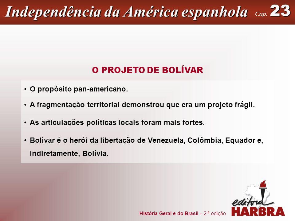 História Geral e do Brasil – 2.ª edição Independência da América espanhola 23 Cap. 23 O PROJETO DE BOLÍVAR O propósito pan-americano. A fragmentação t