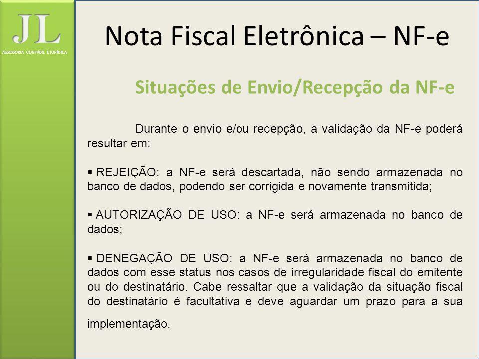 ASSESSORIA CONTÁBIL E JURÍDICA Situações de Envio/Recepção da NF-e Durante o envio e/ou recepção, a validação da NF-e poderá resultar em: REJEIÇÃO: a