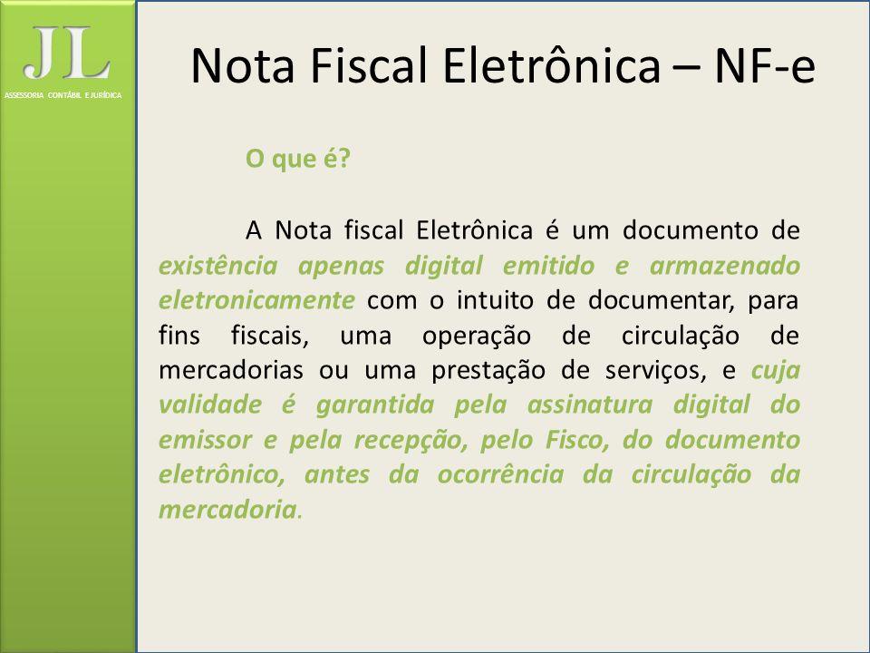 ASSESSORIA CONTÁBIL E JURÍDICA Situações de Envio/Recepção da NF-e Durante o envio e/ou recepção, a validação da NF-e poderá resultar em: REJEIÇÃO: a NF-e será descartada, não sendo armazenada no banco de dados, podendo ser corrigida e novamente transmitida; AUTORIZAÇÃO DE USO: a NF-e será armazenada no banco de dados; DENEGAÇÃO DE USO: a NF-e será armazenada no banco de dados com esse status nos casos de irregularidade fiscal do emitente ou do destinatário.
