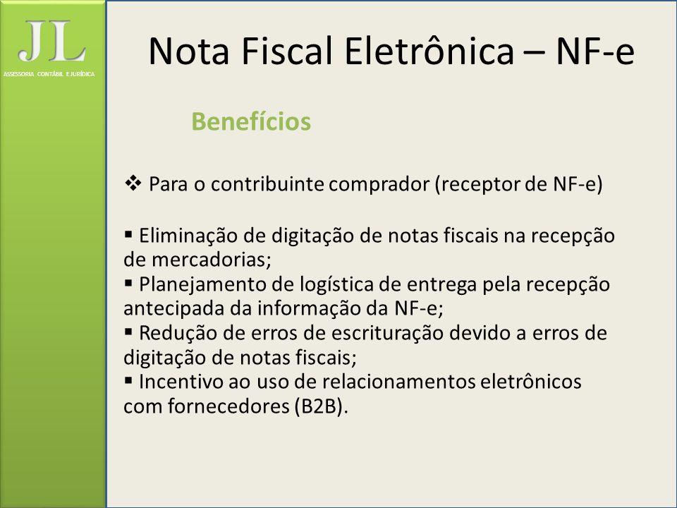 ASSESSORIA CONTÁBIL E JURÍDICA Benefícios Para o contribuinte comprador (receptor de NF-e) Eliminação de digitação de notas fiscais na recepção de mer