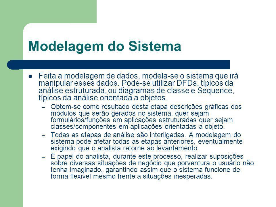Modelagem do Sistema Feita a modelagem de dados, modela-se o sistema que irá manipular esses dados. Pode-se utilizar DFDs, típicos da análise estrutur
