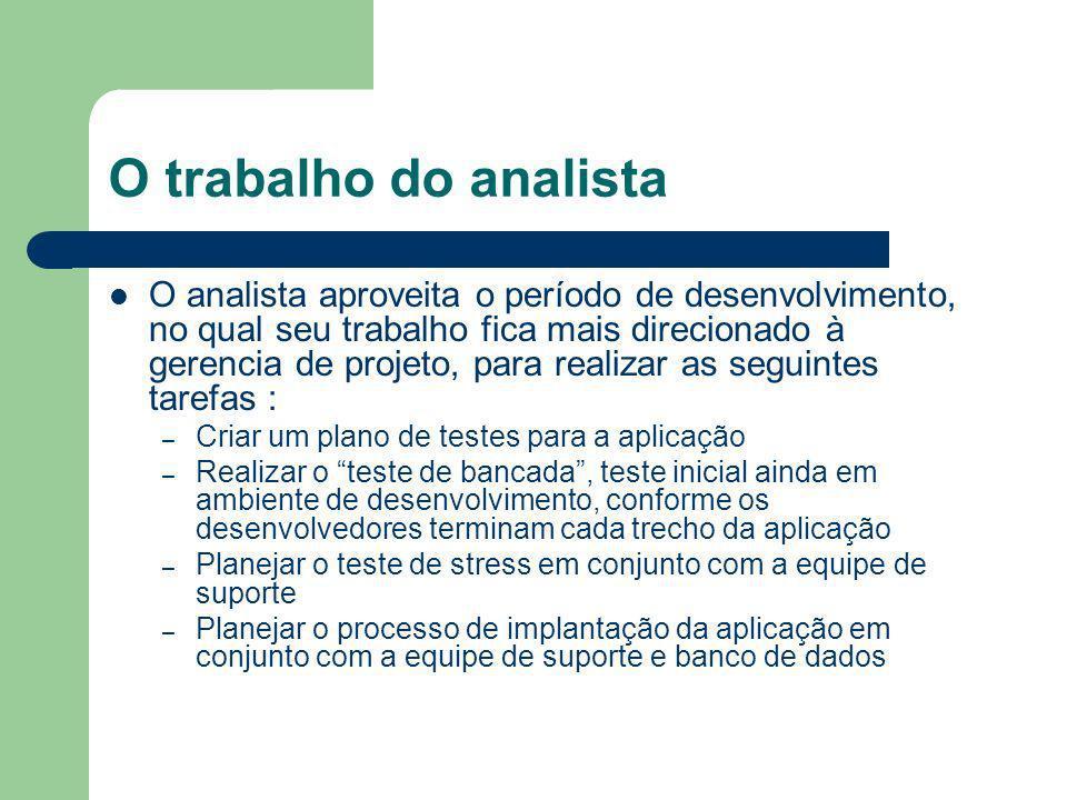 O trabalho do analista O analista aproveita o período de desenvolvimento, no qual seu trabalho fica mais direcionado à gerencia de projeto, para reali