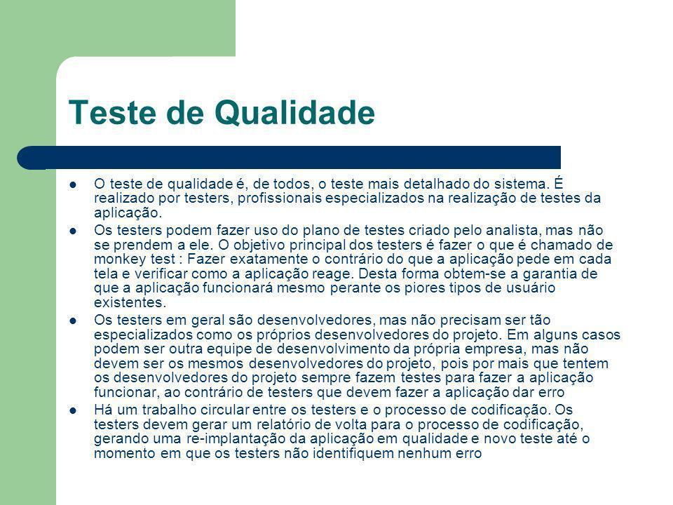 Teste de Qualidade O teste de qualidade é, de todos, o teste mais detalhado do sistema. É realizado por testers, profissionais especializados na reali