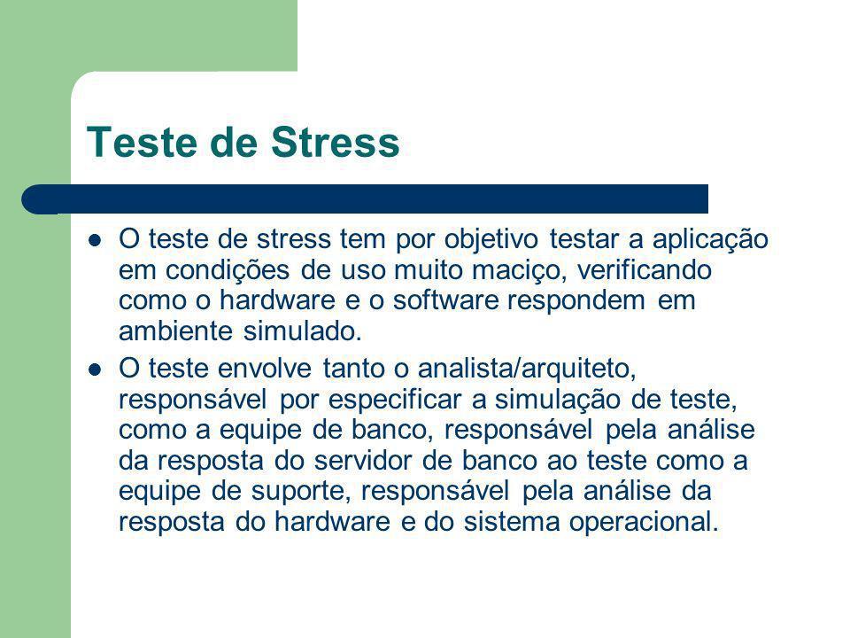 Teste de Stress O teste de stress tem por objetivo testar a aplicação em condições de uso muito maciço, verificando como o hardware e o software respo