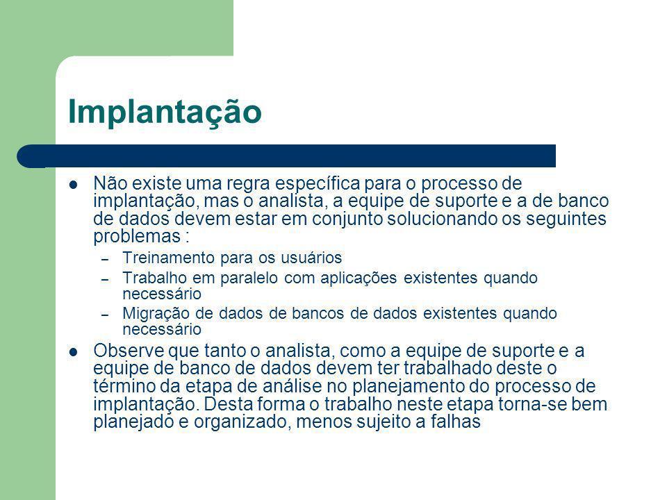 Implantação Não existe uma regra específica para o processo de implantação, mas o analista, a equipe de suporte e a de banco de dados devem estar em c