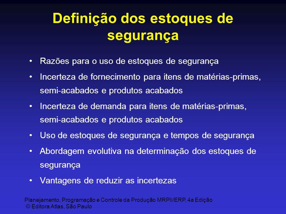 Planejamento, Programação e Controle da Produção MRPII/ERP, 4a Edição © Editora Atlas, São Paulo Definição dos estoques de segurança Razões para o uso