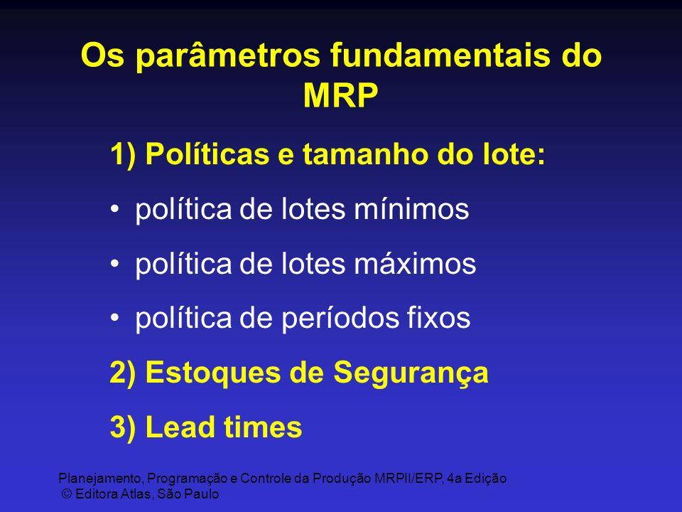 Planejamento, Programação e Controle da Produção MRPII/ERP, 4a Edição © Editora Atlas, São Paulo Os parâmetros fundamentais do MRP 1) Políticas e tama