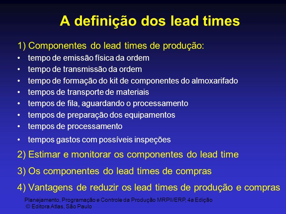 Planejamento, Programação e Controle da Produção MRPII/ERP, 4a Edição © Editora Atlas, São Paulo A definição dos lead times 1) Componentes do lead tim