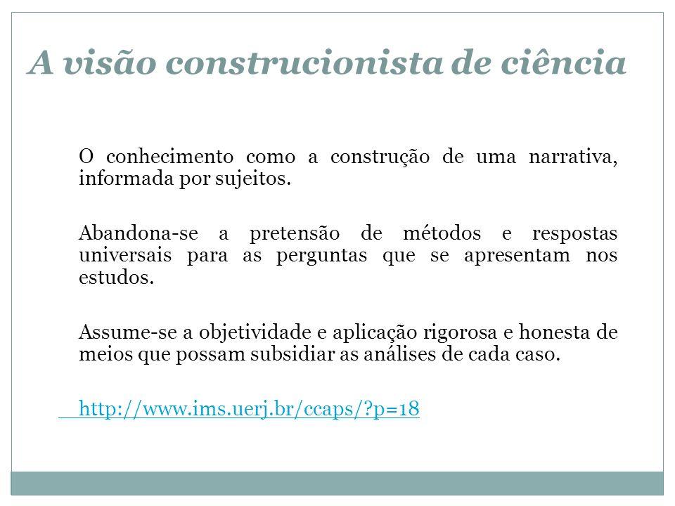 A visão construcionista de ciência O conhecimento como a construção de uma narrativa, informada por sujeitos. Abandona-se a pretensão de métodos e res