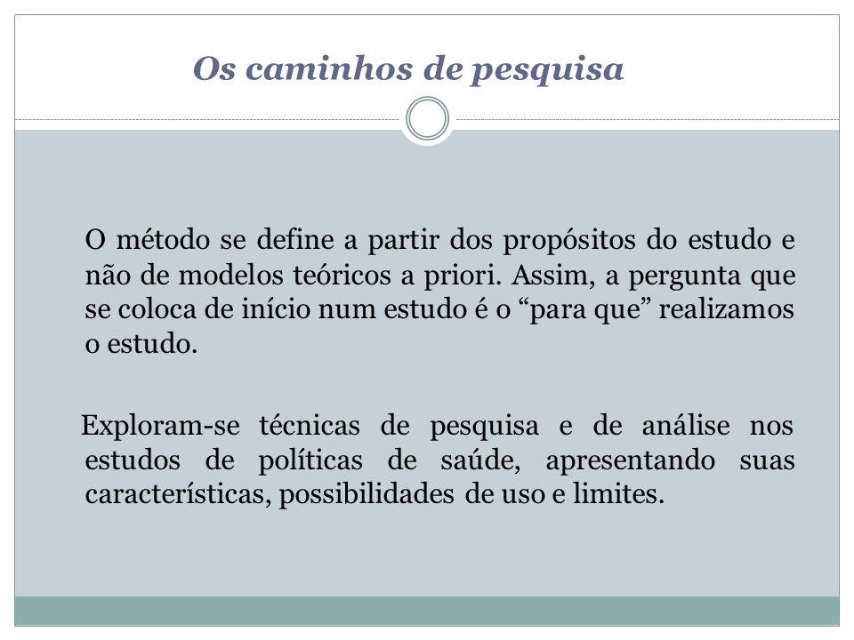 Os caminhos de pesquisa O método se define a partir dos propósitos do estudo e não de modelos teóricos a priori. Assim, a pergunta que se coloca de in
