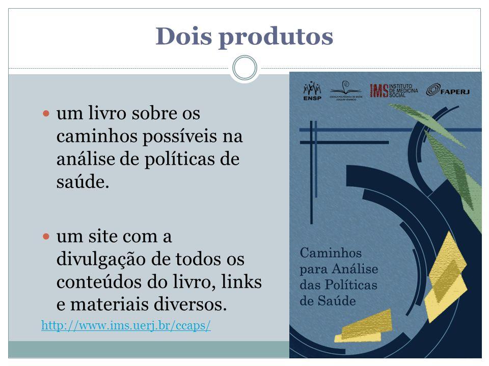 Dois produtos um livro sobre os caminhos possíveis na análise de políticas de saúde. um site com a divulgação de todos os conteúdos do livro, links e