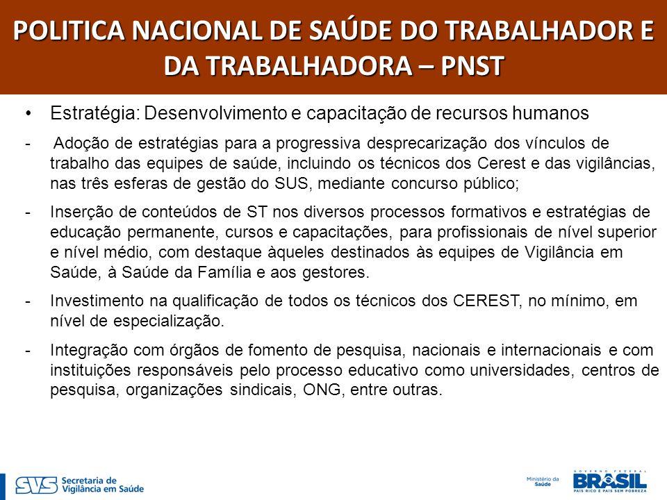 POLITICA NACIONAL DE SAÚDE DO TRABALHADOR E DA TRABALHADORA – PNST Estratégia: Desenvolvimento e capacitação de recursos humanos - Adoção de estratégi