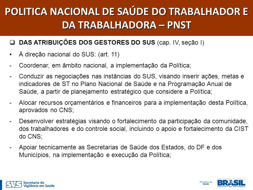 POLITICA NACIONAL DE SAÚDE DO TRABALHADOR E DA TRABALHADORA – PNST DAS ATRIBUIÇÕES DOS GESTORES DO SUS (cap. IV, seção I) À direção nacional do SUS: (