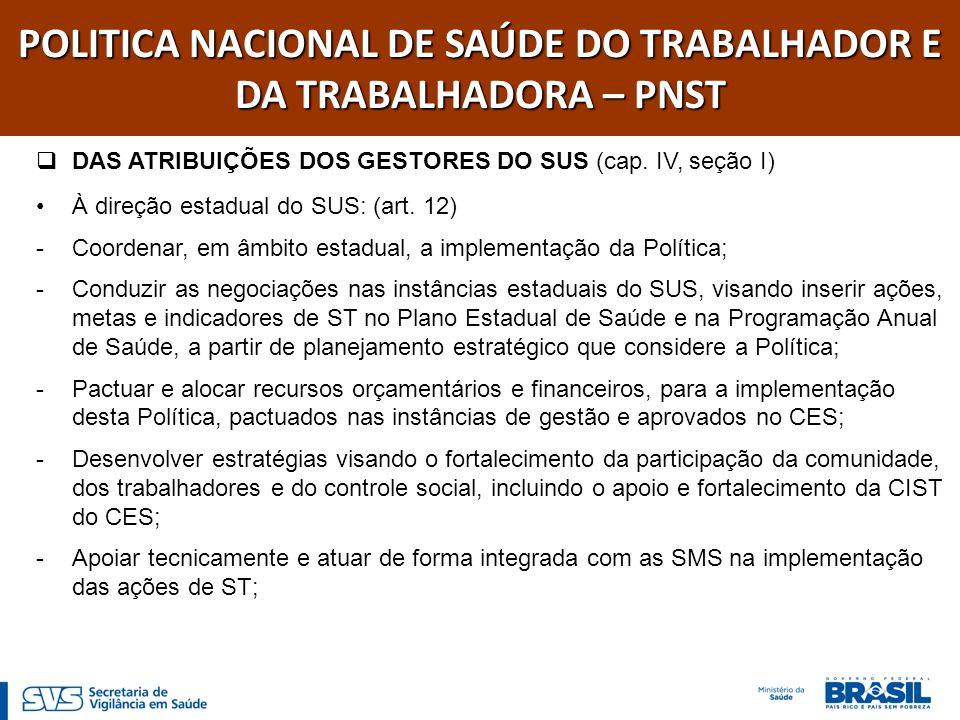 POLITICA NACIONAL DE SAÚDE DO TRABALHADOR E DA TRABALHADORA – PNST DAS ATRIBUIÇÕES DOS GESTORES DO SUS (cap. IV, seção I) À direção estadual do SUS: (
