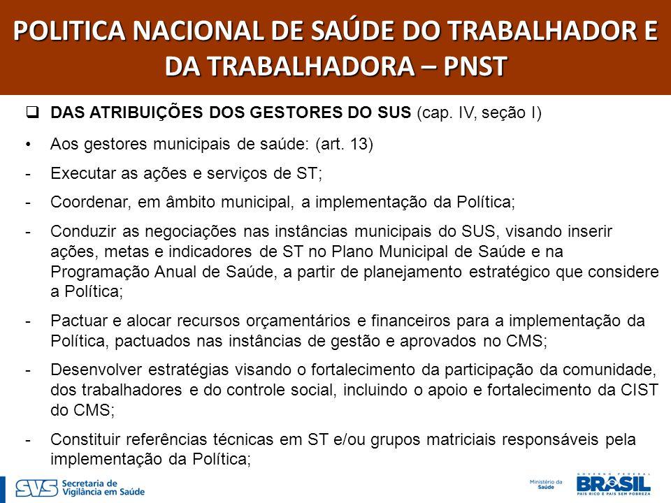 POLITICA NACIONAL DE SAÚDE DO TRABALHADOR E DA TRABALHADORA – PNST DAS ATRIBUIÇÕES DOS GESTORES DO SUS (cap. IV, seção I) Aos gestores municipais de s