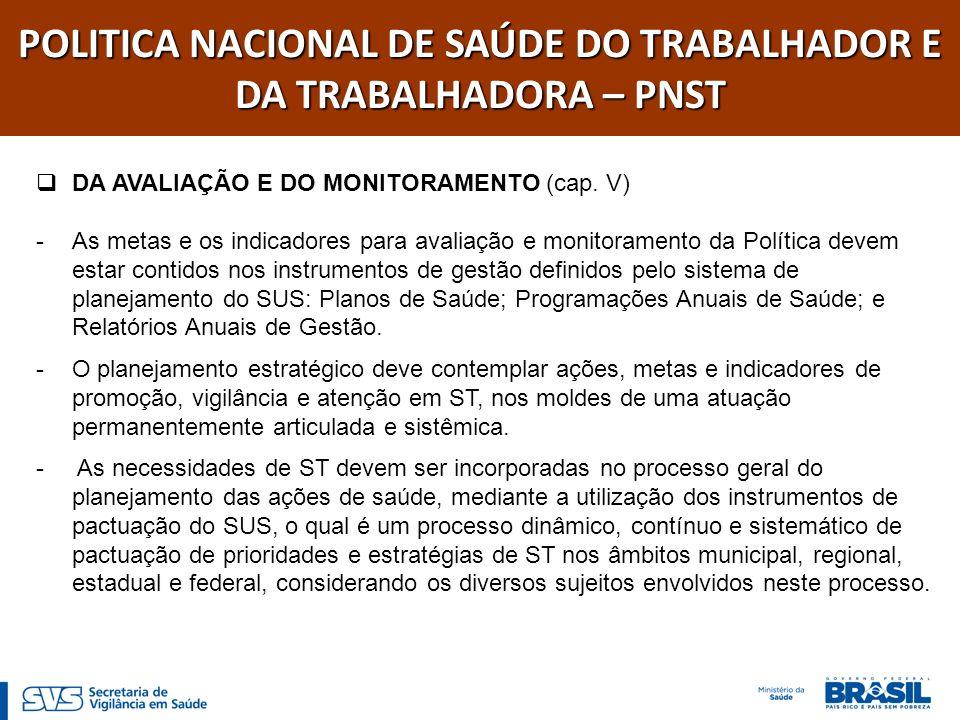 POLITICA NACIONAL DE SAÚDE DO TRABALHADOR E DA TRABALHADORA – PNST DA AVALIAÇÃO E DO MONITORAMENTO (cap. V) -As metas e os indicadores para avaliação