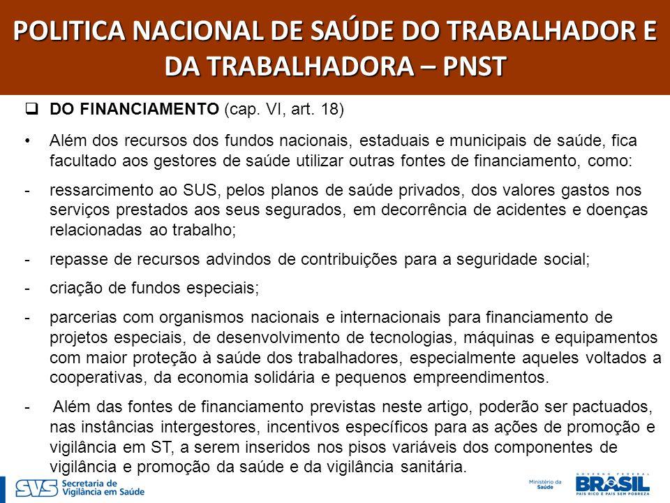 POLITICA NACIONAL DE SAÚDE DO TRABALHADOR E DA TRABALHADORA – PNST DO FINANCIAMENTO (cap. VI, art. 18) Além dos recursos dos fundos nacionais, estadua