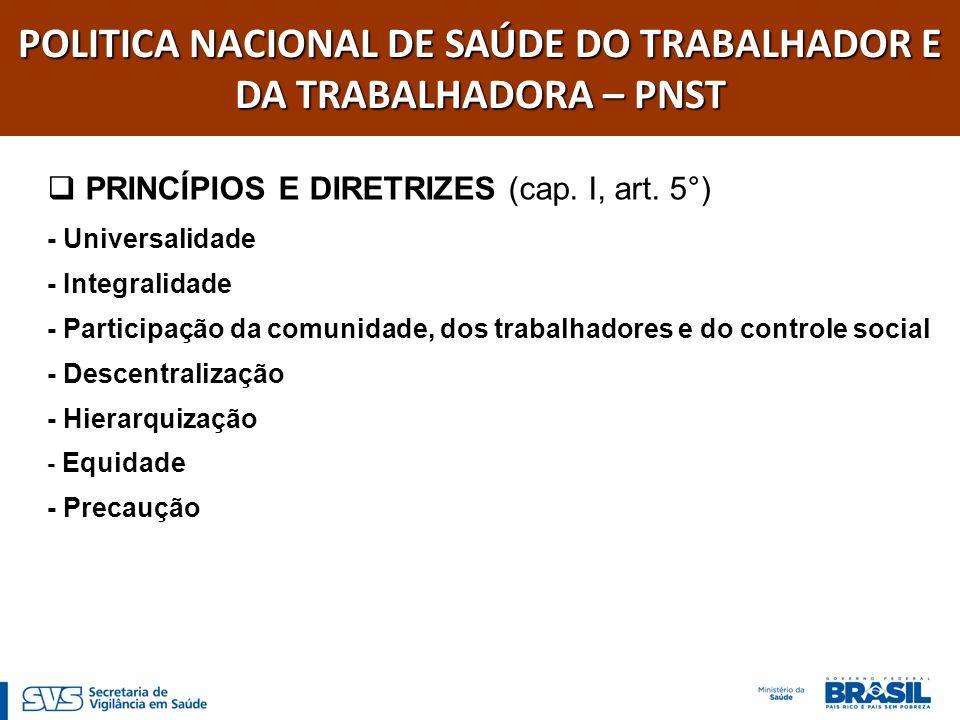 PRINCÍPIOS E DIRETRIZES (cap. I, art. 5°) - Universalidade - Integralidade - Participação da comunidade, dos trabalhadores e do controle social - Desc