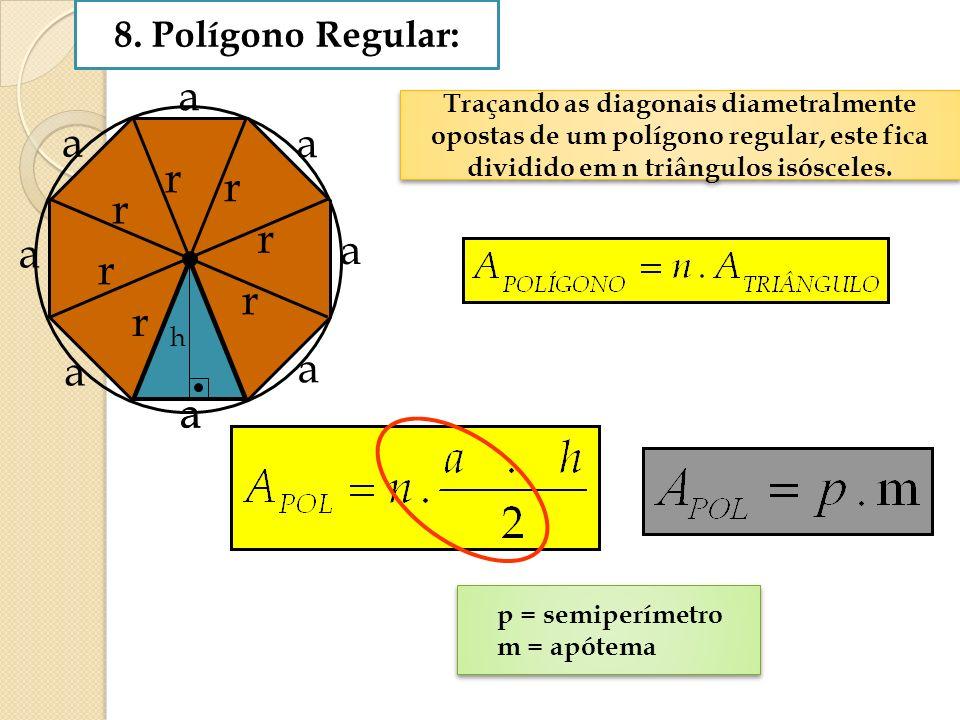 8. Polígono Regular: Traçando as diagonais diametralmente opostas de um polígono regular, este fica dividido em n triângulos isósceles. Traçando as di