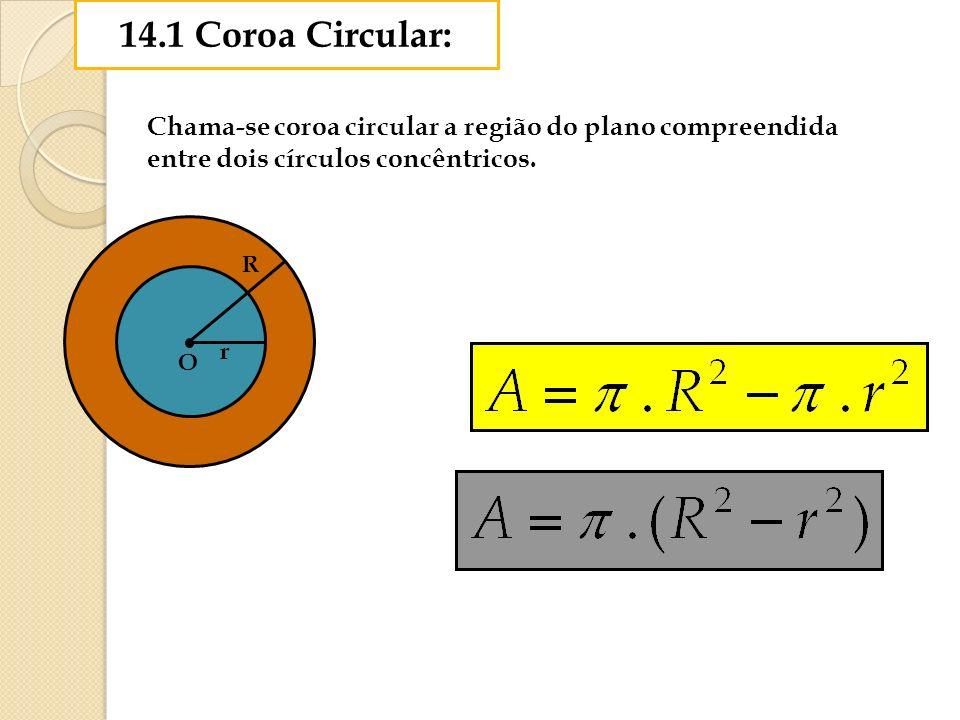 14.1 Coroa Circular: Chama-se coroa circular a região do plano compreendida entre dois círculos concêntricos. r O R