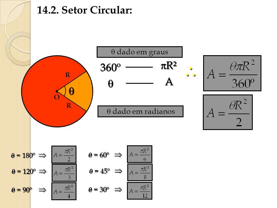 14.2. Setor Circular: O R R 360º R² R² A dado em graus dado em radianos = 180º = 180º = 120º = 120º = 90º = 90º = 60º = 60º = 45º = 45º = 30º = 30º